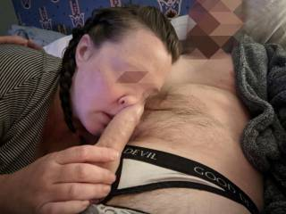 Rubbing my cock all over her nose
