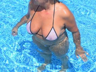 Think the water made my nipples hard as much as it made my bikinis transparent.