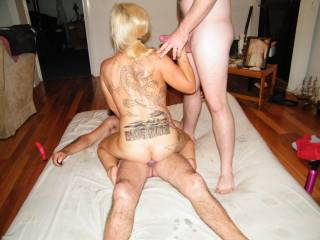 Just what I want my sexy little wife to do - have two big sexy cocks !.......