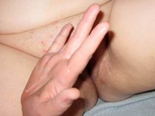 wife showing other wifey from lakecouple2828's cum after fingering her sweet pussy.