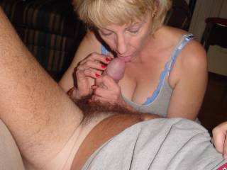 I wish that it was my cock you had hold of. One thing is it is a lot bigger than mine plus you are licking on it.