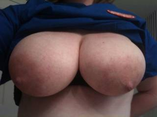 My buddies relative and my wife have always liked comparing their tits. I'd say she has my wife beat!