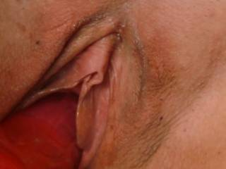 Close up of Sally's pussy as she slides that dildo up her!