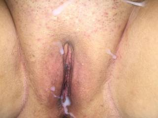 Nice load over wife\'s well fucked pussy!