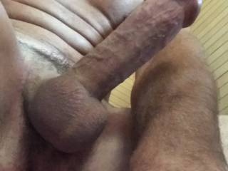 My cockhead seems to have sprung a leak, I didnt notice til after I took the pic. Taking pics of my hard cock makes me very horny!