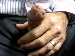 Had to get my cock out at work, with my new cockring on... Dripping precum... yum!