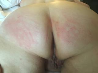 Kitten's ass is a little red after she earned a spanking from Master