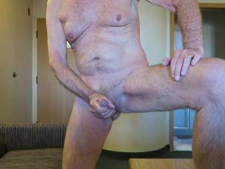 Mr. F. having some fun without me in his hotel room.  Should he cum, or hold his load for me?  From Mrs. Floridaman