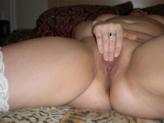 Horny wife playing with her smooth newly shaved pussy, thinking about one of our ZOiG friends tasting her, 7 of 7