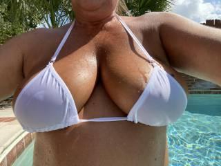 Close up view of the sheer bikini.