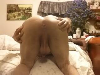 I want to hold & squeeze your balls while I tongue your ass then fill you full of cum !!!