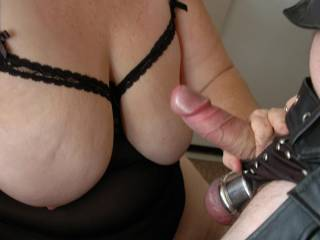 Awesome tits and a cock and ball weights. 23 year anniversary play time :)
