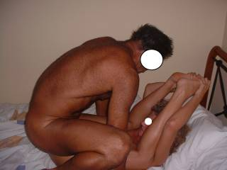 Our swinger friend fucks me when he came around for a play. Good job I do yoga, as he likes to fuck me hard and deep with my legs right back.