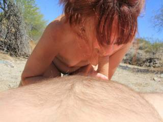 Vacationing in Arizona one year, hubby ventured out to find a secluded spot. He found this place and brought me out for some sunbathing and fun. It was awesome laying out in the warm Arizona sun, totally naked. Here is hubbies reward, for thinking of me.