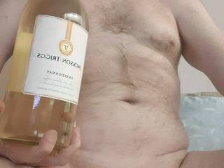 """My Monthly, """"WINE"""" Contest Photo. With a bottle of Chardonnay."""