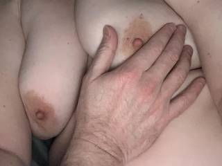 Mmm just about to have my nipples played with! Always gets my pussy juice oozing when I have my nipples pulled and chewed! Mmmm
