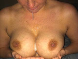 Mmm, bet my cock would slide nicely between those with all that cum in there. Unless you you want me to lick you clean and cum on them myself.