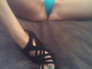SUCH a hot pic! Wow!! You've no idea just how much I ache to feel those feet wrapped around my hot hard throbbing cock right....and those nipples are just asking to be sucked, licked, flicked and teased...perfect!