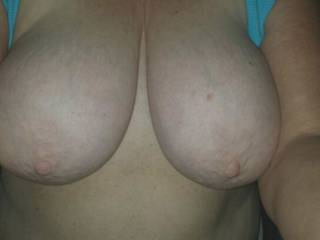 V sent this pic to me and a friend of mine. He loves her huge tits too.