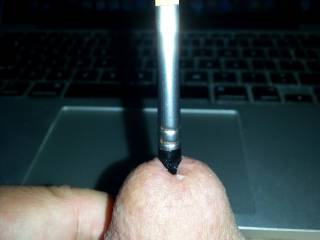 Sounding while edging my cock