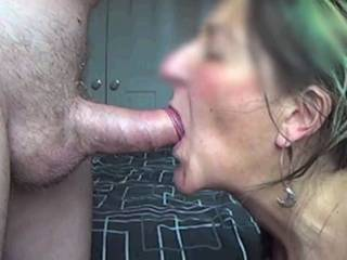 Just pictures from a quick cum in mouth video, she sucks me and I wank into her mouth.  While I like seeing cum run down her it chin it was cool to see her not spill a drop this time :-)
