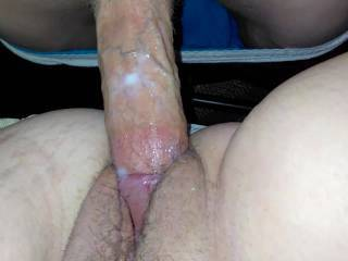 Me filling my wifes pussy with hot cum