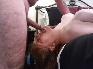 What a woman! Nothing like fucking her throat, followed by a nice facial. Mrs. S. did a lovely job making sure Hubby was completely drained.