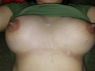 just a load of my cum shot on her tits, look that hot nippy....
