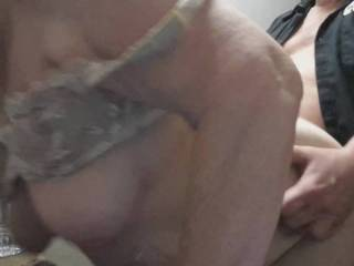 Girl friend stopped by my office for a quickie and wanted tof show everyone her great tits and nipples swinging as I pounced her from behind and filled her tight pussy. Who wants to do her next