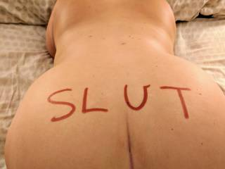 My slave bent over wanting to be a good slut. Maybe tour dick will be in this shot next time.