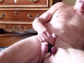 Nice tight ball cuffs in place makes for a strong ejaculation.