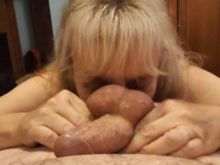 I love taking care of cock. Hubby loves when I massage and lick \'all\' of it, including his balls. Would you like a loving massage from this married woman, too?