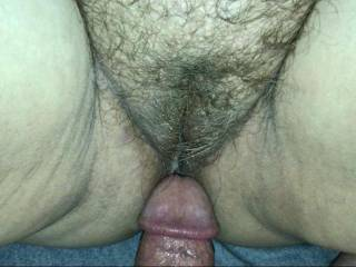 After I cream pied my wife's beautiful hairy pussy.