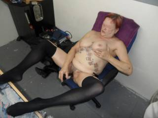 hi all having a little fun in hubbies office, dirty comments welcome mature couple