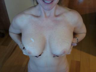 cum on wifes tits