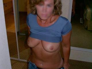 Damn you lucky SOB, she is so hot, would love to see more when she gets her pants and panties pulled down.