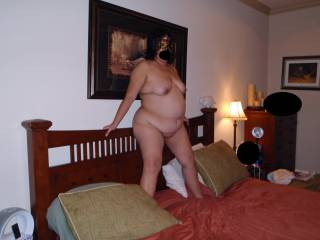 I bought this mask one day while feeling very sexy and horney! Thought I would surprise hubby with a mysterious and sexy look! Now here I am totally nude and fully exposed for your pleasure only wearing my mask! Do you like what you see?