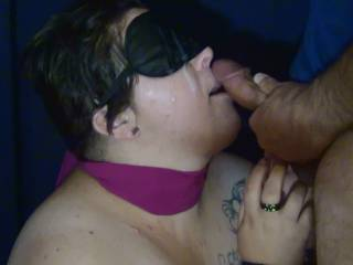 Helping to fulfill her fantasy. A bit of bondage and mystery. A lot of cum...