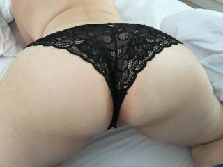 Mature Sweetie (Mrs Firey) and I shared some sweet moments on our holiday break recently. She wore new underwear for me, for a while anyway ! That arse feels as good as it looks LOL !