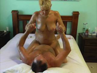 Pt 4 of this series. Oil Slide & Fuck. She releases my bonds so it's my turn to play with her pussy, fuck her hard, then she rides me like the cock lover she is.