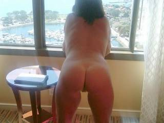 She is Beautifully built to fuck! You can show her off to me anytime ;) We don't need a balcony...Besides, If we went from showing to playing, We wouldn't make it to the balcony...  XoxO  Deep.Throat.Her.