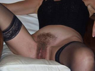 Such a beautiful hairy pussy and terrific legs in black stockings! MORE!!!!!!!!!!!!!