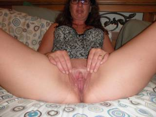 look how wet my pussy is i really want a big thick cock in there