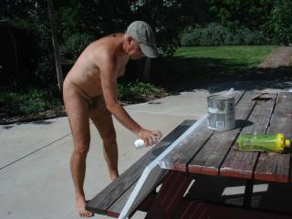 My turn to do some posting. I\'m usually the model but caught hubby doing a project in our back yard. The yard is quite private so we are casual with our dress code. It was nice to get these photos as he is a very reluctant subject.