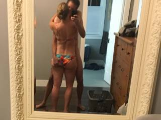 The wife earlier in the summer rewarding her boy toy for the new bikini.  He has good taste don\'t you think?
