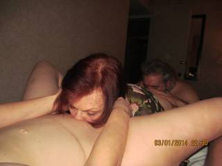 I love to see my wife having sex.  She was enjoying eating a friend's pussy while the friend's husband ate her ass.
