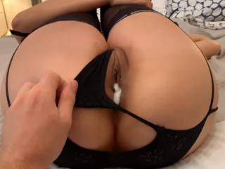 Mmmmm~! Love the feeling of his cum oozing from my freshly fucked Asian pussy!! I hope he laps it up & shares with me... would you?? ;-)~