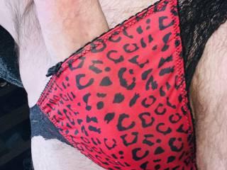 Red leopard print slutty panties.