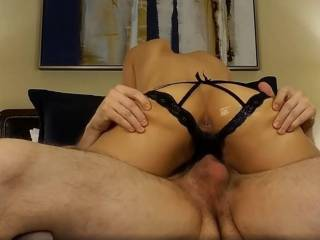 Grinding my Asian cunt on his thick cock! I like to take him to the edge, then dismount and lap my juices from his cock until he calms,  a few times over... would you enjoy that?