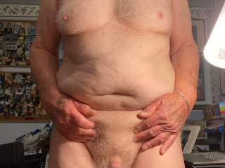Just me, showing off my big boobs and little cock